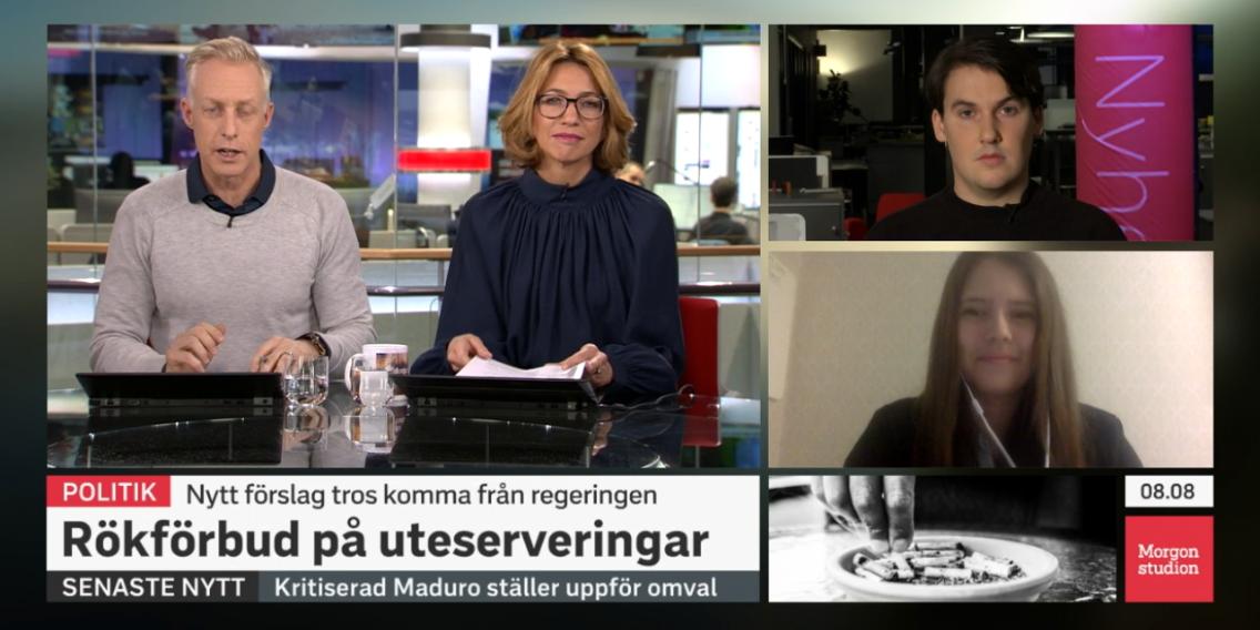 Debatt i Morgonstudion mellan Unga Allergikers tidigare generalsekreterare Sofia Olsson och liberala ungdomsförbundet om rökförbund på uteserveringar.