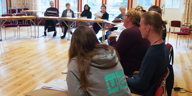 Riksöverläggning 2018. Ett femtontal medlemmar sitter i en halvcirkel och diskuterar.