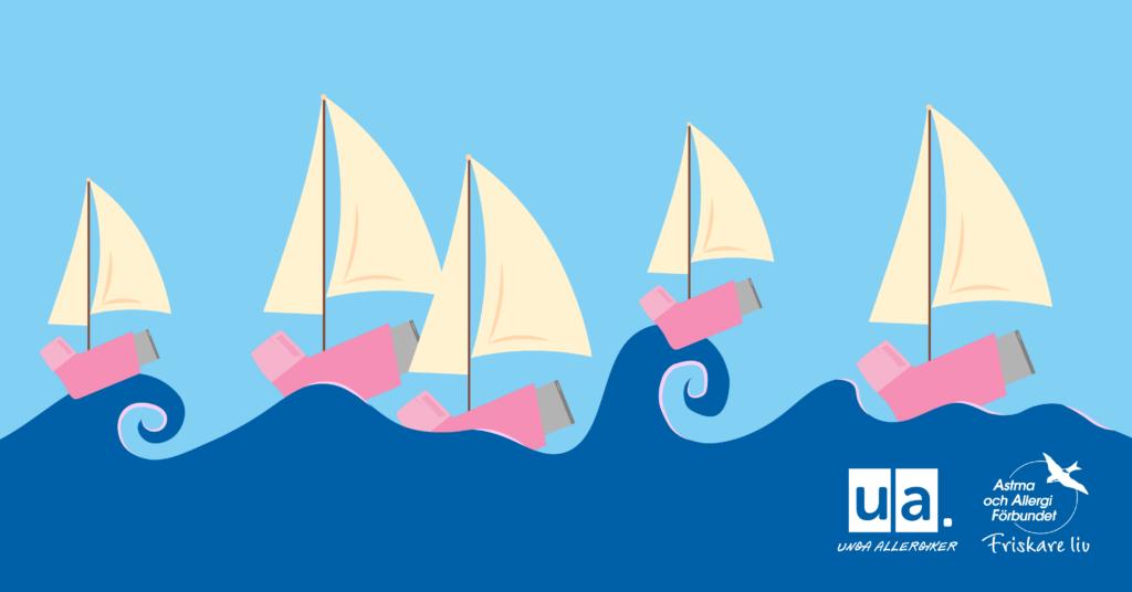 Kampanjbild. Tecknade segelbåtar i form av astmainhalatorer med segel seglar på vågor.