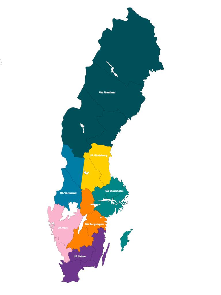 Unga Allergikers lokalföreningar, geografisk placering